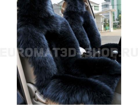 Меховая накидка из натуральной овчины Euromat Tex (цельная комбинированная) черная № EUSH-005000